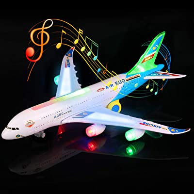 Feroxo Airplane Toys Airbus A380 Jet Plane - Realistic LED Lights & Engine Sounds,Bump and Go Action Electric Light Up Toys for Boys Girls Toddlers Kids Age 2 and Up(Colors May Vary): Toys & Games