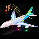Feroxo Airplane Toys Airbus A380 Jet Plane - Realistic LED Lights & Engine Sounds,Bump and Go Action Electric Light Up Toys for Boys Girls Toddlers Kids Age 2 and Up(Colors May Vary)