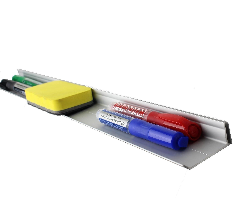 Supporto porta pennarelli in alluminio per lavagna magnetica (con cancellino magnetico incluso) Medium (32 cm) - Adhesive Hidayat