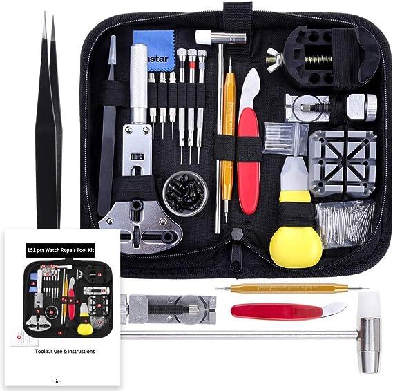 Kit de Herramientas de reparación de Relojes de 151 Piezas, Kit de Herramientas de Repuesto de batería de Reloj, Juego de Herramientas de Barra de Resorte Profesional, con Estuche de Transporte: Amazon.es: