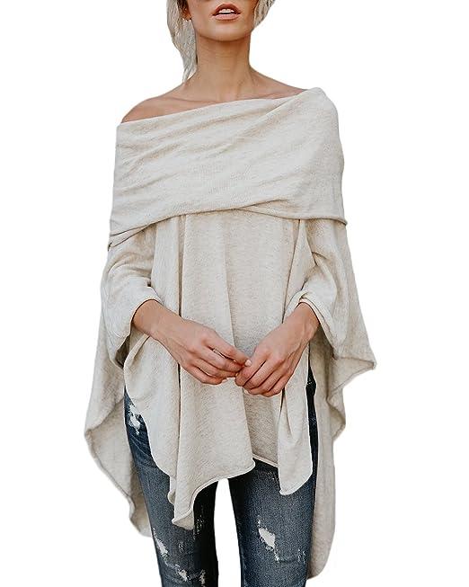 Blusa De Mujer Spring Otoño Poncho Elegante Moda Loose Casual Estilo Retro Chic Color Sólido Irregular