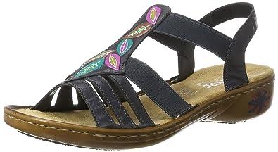 Rieker Damen 61659 Offene Sandalen mit Keilabsatz, Blau (Ozean/14), 36 EU