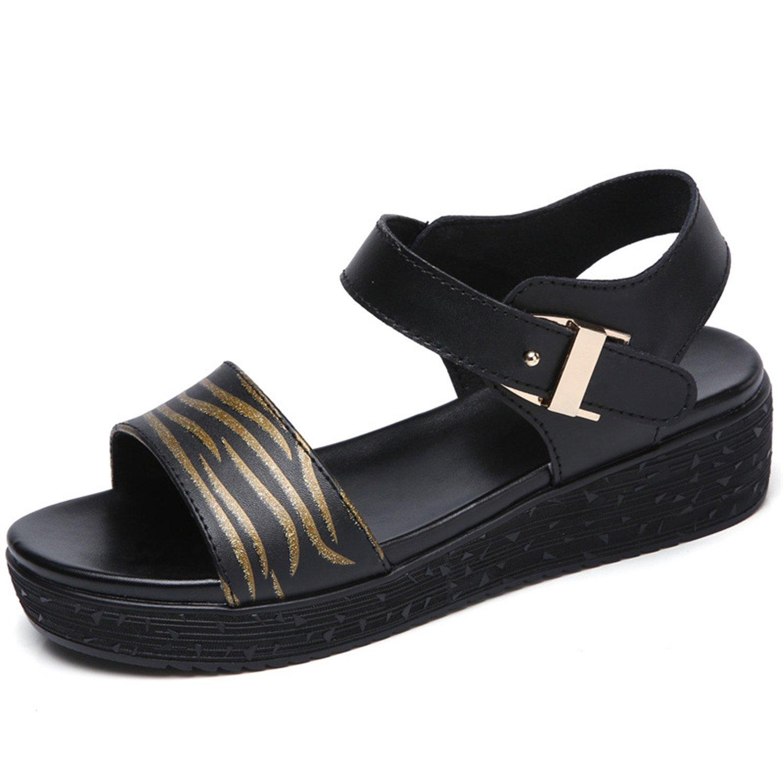 Women's Adjustable Buckle Sandal Open Peep Toe Toe Toe Dress Platform Shoes 36|Gold B07BDFGTJD 7be004