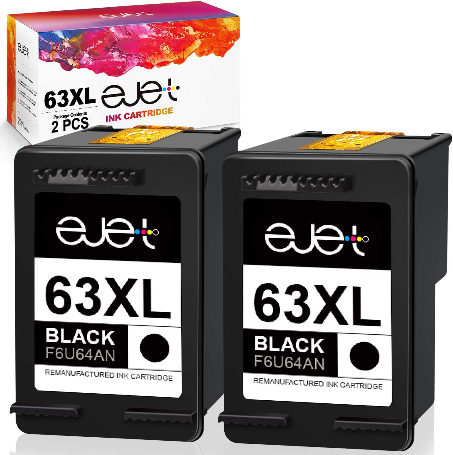 ejet Remanufactured Ink Cartridge Replacement for HP 63XL 63 XL, High Yield Work with OfficeJet 3830 4650 5255 Envy 4520 4512 4516 Deskjet 1112 3630 3634 3639 3632 2132 Printer (2 Black)