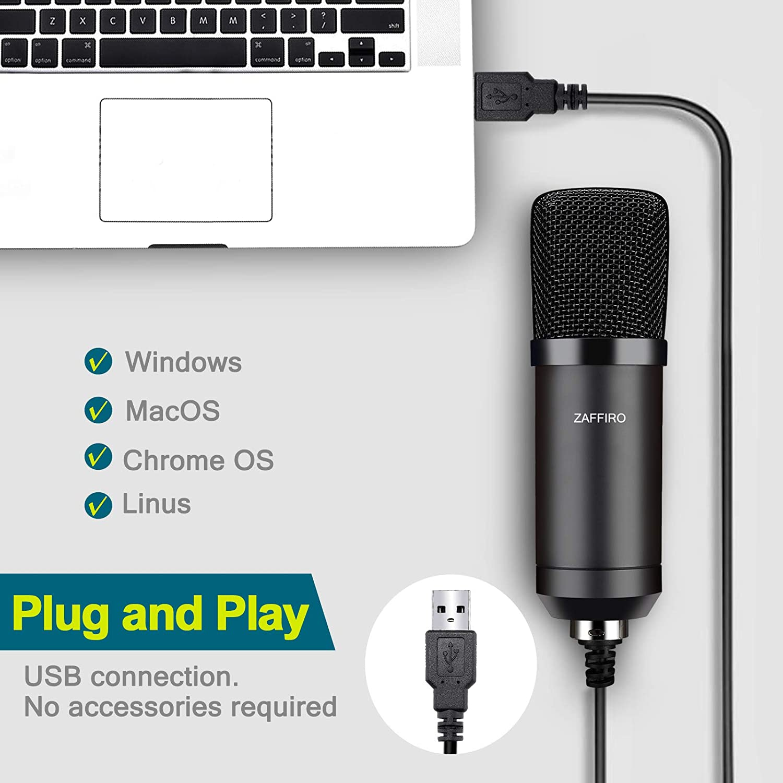 Live Streaming und Spiele PC Streaming Mikrofon eignen Sich f/ür YouTube ZAFFIRO USB PC Mikrofon Set Plug /& Play USB Computer Mikrofon Nieren Podcast Kondensator Mikrofon Kit Musikaufzeichnung