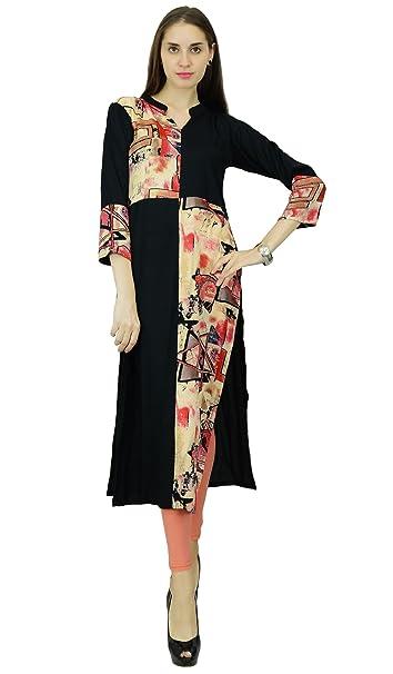 Phagun Negro Rayón Impreso Kurta étnico Diseñador Kurti Top vestido de la túnica