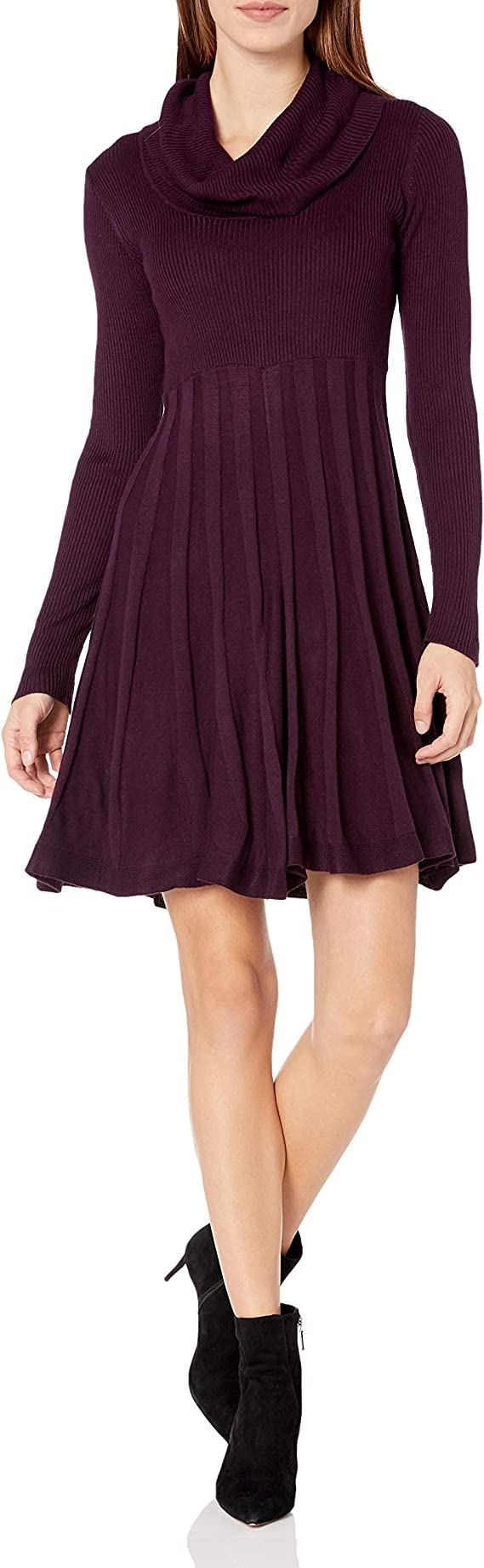 Calvin Klein Women's Long-Sleeve Cowl-Neck Fit & Flare Sweater Dress Cute Sweater Dress for women