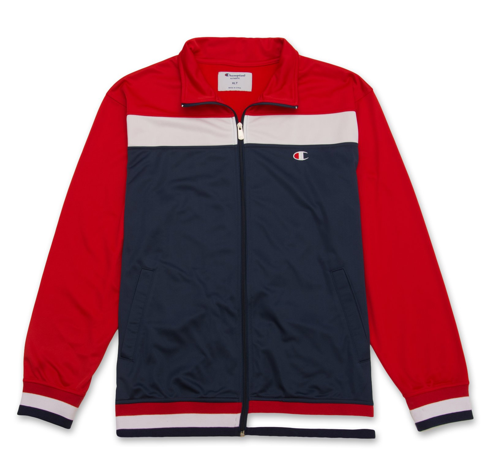 Champion Men's Long Sleeve Tricot Track Jacket Zipper Pockets Athletic Exercise Striped Navy/Red/White 4XT