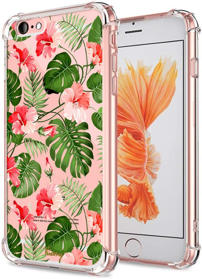 iPhone 6 Plus 6S Plus Floral Case, Crystal Clear with Design Cute Tropical Flowers and Palm Pattern Bumper Protective Case for iPhone 6 Plus 6S Plus 5.5 Inch Gel Soft Silicone Slim Shockproof Cover