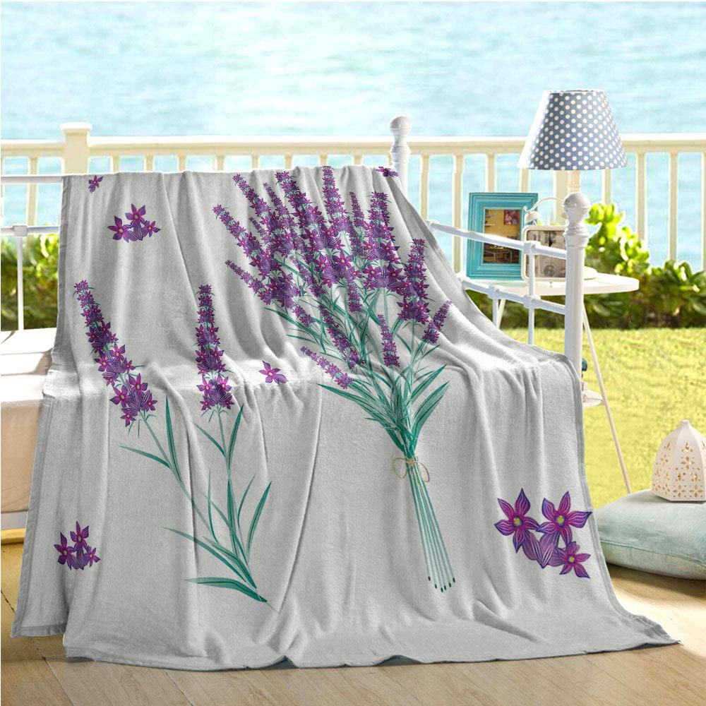 Mademai Lavender Home Decor,Aromatic Blossoms Bouquet from Provence France Fragrant Herbal Flora Print,Bed air Conditioner Purple Sea Green 50''x80'' by Mademai