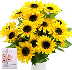 """SNAIL GARDEN 28 Heads Extra Large Artificial Sunflower, 2 Bunches 4.1"""" Big Silk Sunflowers Bouquet-Real Looking Fake Helianthus with Green Leaves for Home Office Wedding Garden Party Decoration"""