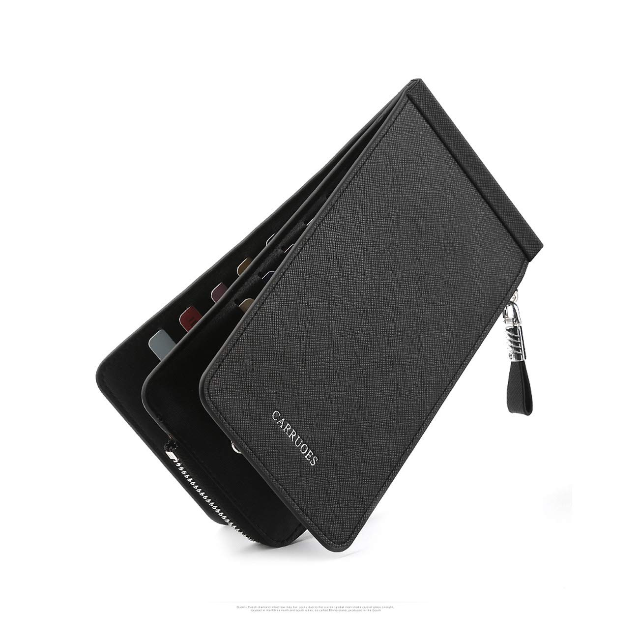 Kalmar Mens Stealth Mode Blocking Leather Long Wallets Bifold Wallet , Leather RFID Blocking Bifold Wallet with Zipper, Best Gift Extra Capacity Travel Wallet Color : Black