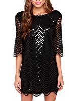 HaoDuoYi Womens Sparkle Mermaid Sequin Lace Hollow Out Half Sleeves Mini Party Dress