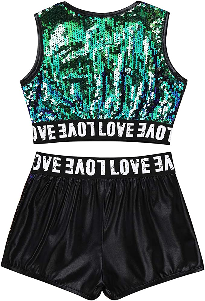 JanJean Kids Girls 2 Piece Ballet Jazz Active Dance Sports Outfit Top with Shorts Set for Gymnastics Leotard Dancewear