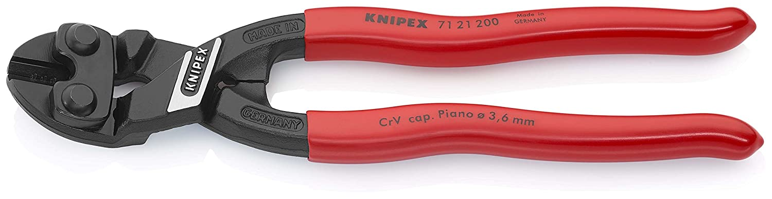 KNIPEX 71 21 200 CoBolt compact bolt cutters, angled, black phosphate-treated and plastic-coated, 200 mm