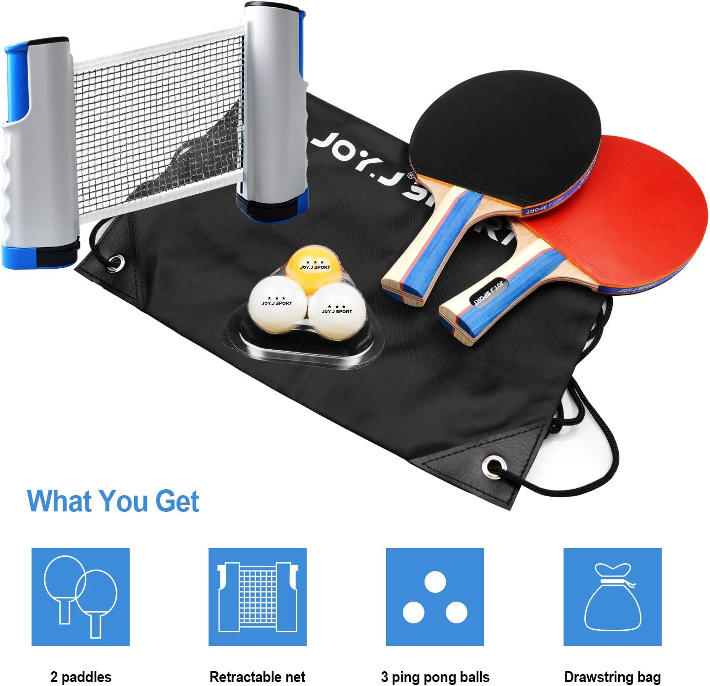Joy.J Sport Ping Pong Paddle Set with Retractable Net 2 Premium Table Tennis Rackets Indoor or Outdoor Play Training//Recreational Racquet Kit 3 Standard 3-Star Balls Portable Cover Case Bag