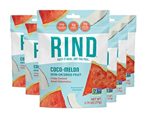 RIND Snacks Coco-Melon Dried Fruit Superfood, Organic Coconut, Watermelon, High Fiber, Vegan, Paleo, Whole 30 Non-GMO 3oz, Pack of 6 (packaging may vary)