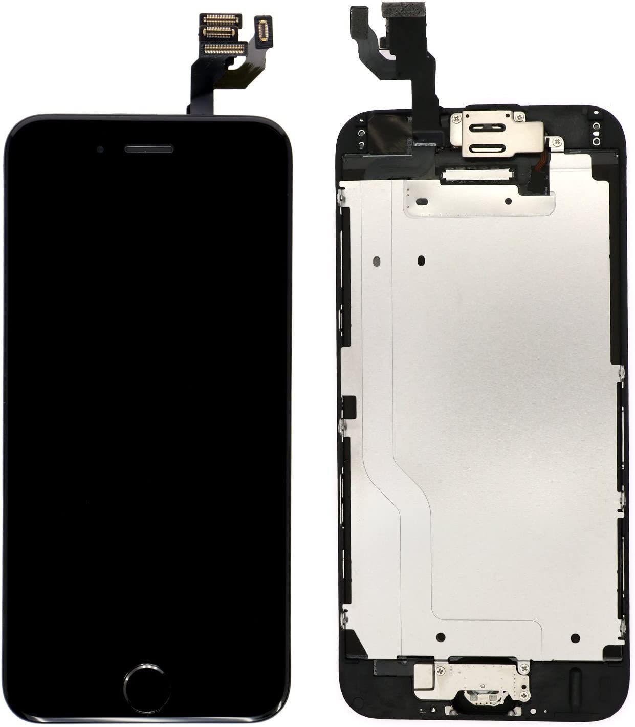 Nroech LCD Screen Replacement for iPhone 6 Black Full Assembly with Front Camera Ear Speaker and Light//Proximity Sensor Repair Tools and Free Screen Protector Included. with Home Button