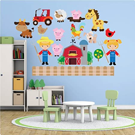 farm animals nursery wall sticker decal repositionable fabric