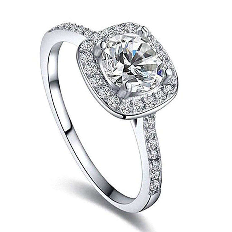Winter.Z Womens Jewelry Circular Bead Square Ring Diamond Platinum Ring Wedding