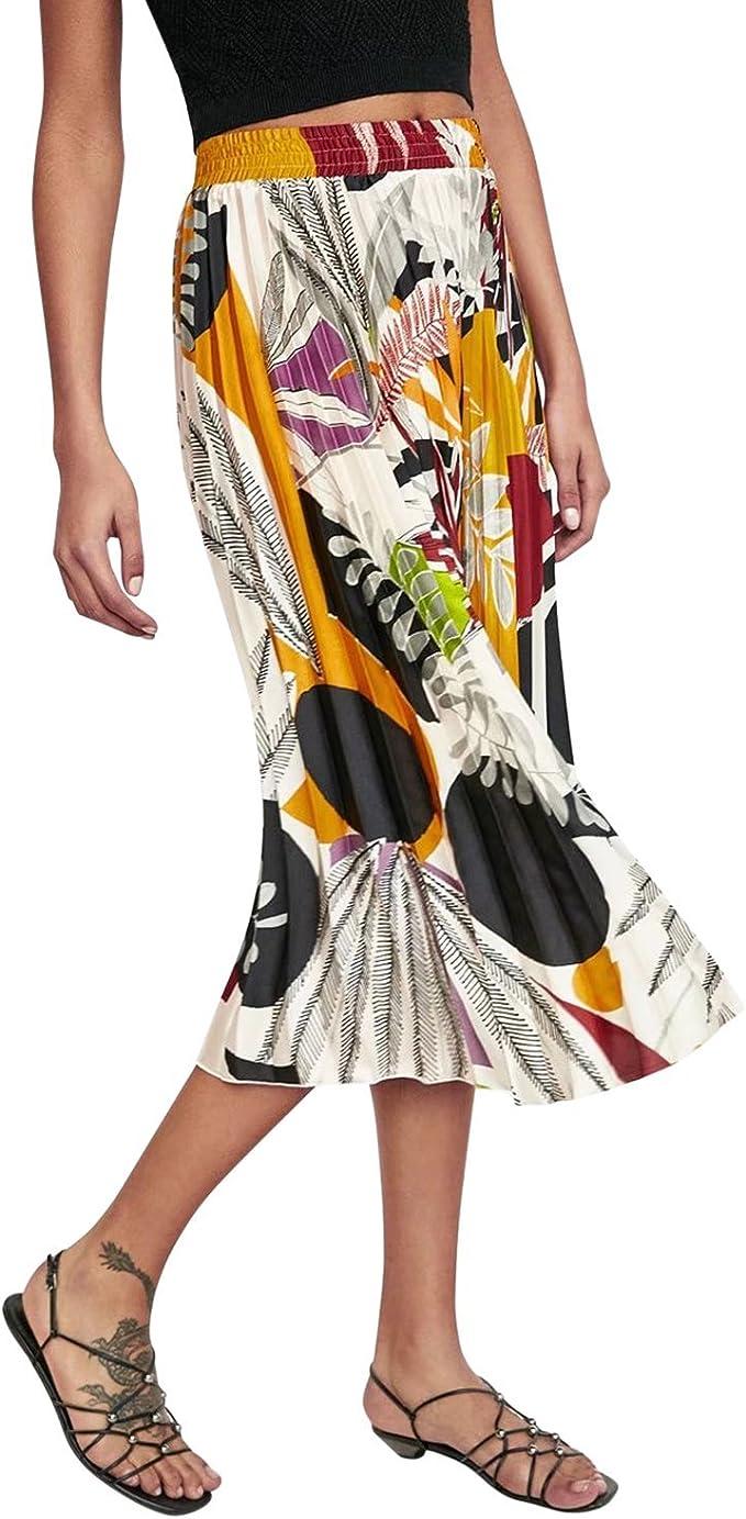 Falda De Las Floral Estampado Mujeres Falda Plisada Moda Cintura ...