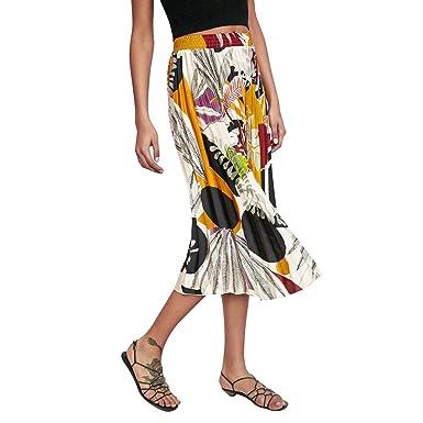 Falda De Las Mujeres Estampado Moda Floral Falda Plisada Cintura ...