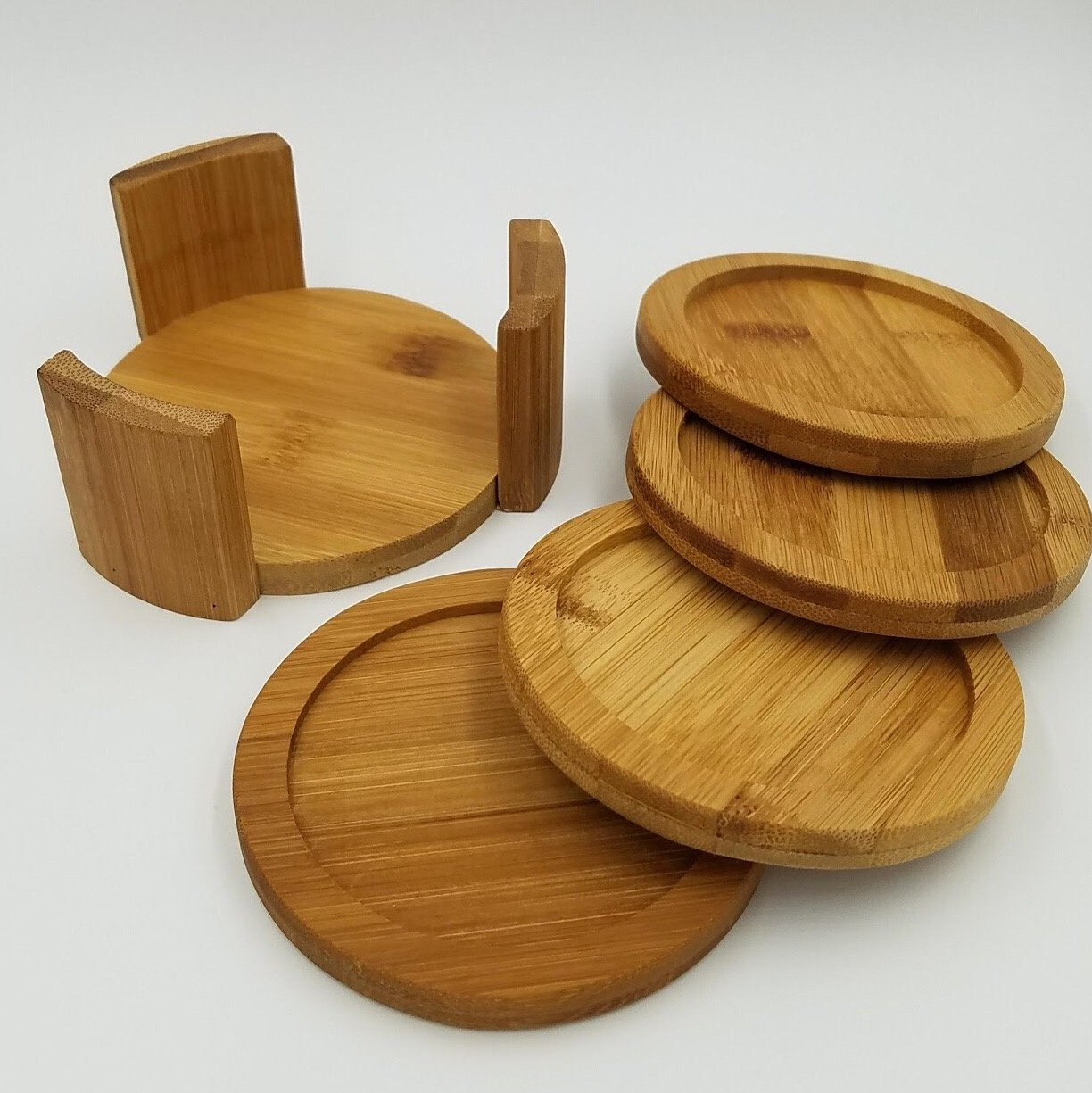 Coaster Set with Holder | Bamboo Wood | Includes 4 Round Coasters and one Holder | Use for Drinks, Beverages, Beer, and Coffee! | Barware Kitchen | Housewarming Idea