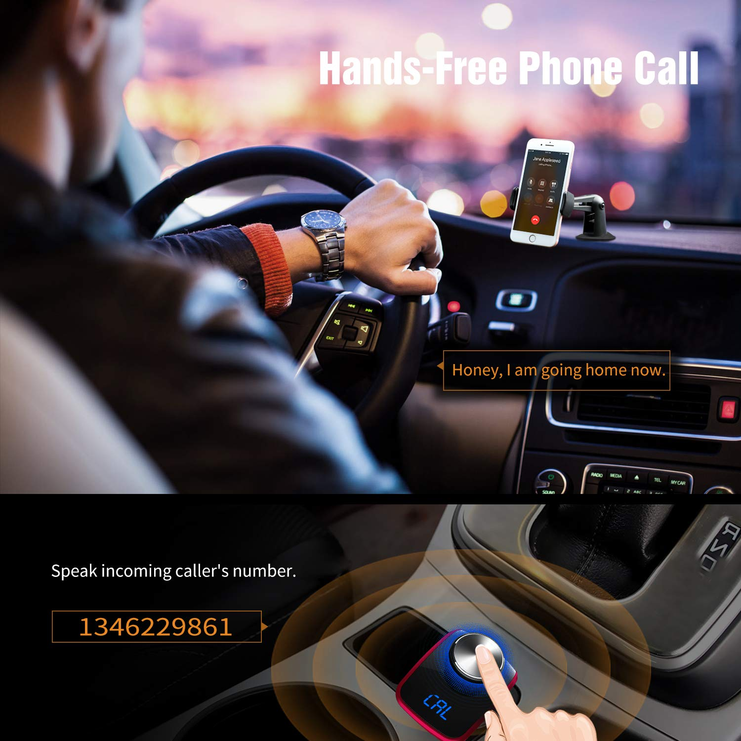 Support TF Card U-Disk AUX Output 3 USB Ports Trekpow F10 Bluetooth FM Transmitter for Car-Wireless Bluetooth 4.2 in-Car Radio Adapter Car Kit with Handsfree Calling LED Display