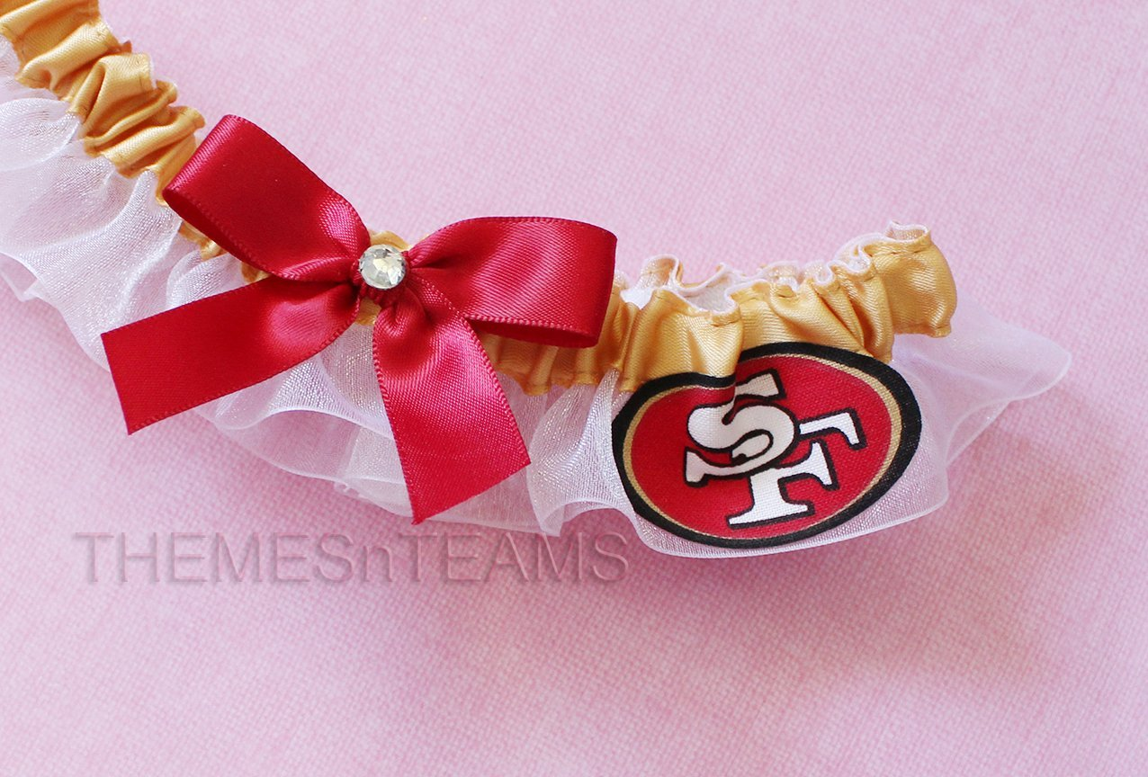 Customizable - San Francisco 49ers fabric handmade into bridal prom organza wedding thin garter TNT