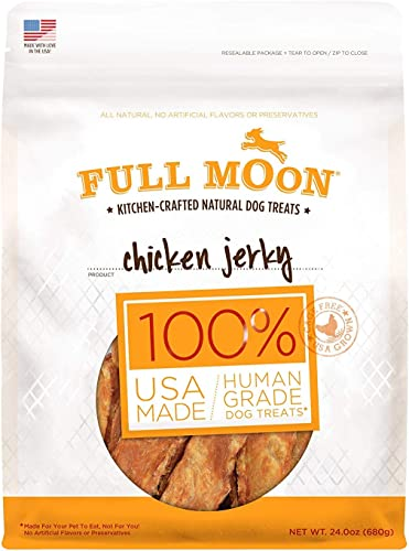 Full Moon All Natural Human Grade Dog Treats, Chicken Jerky, 24 Ounce 2 Packs