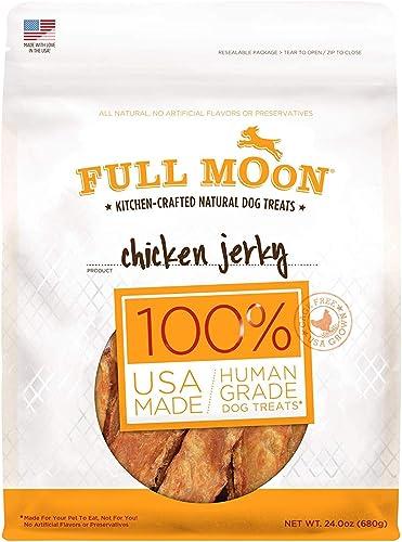 Full Moon All Natural Human Grade Dog Treats, Chicken Jerky, 24 Ounce 3 Packs