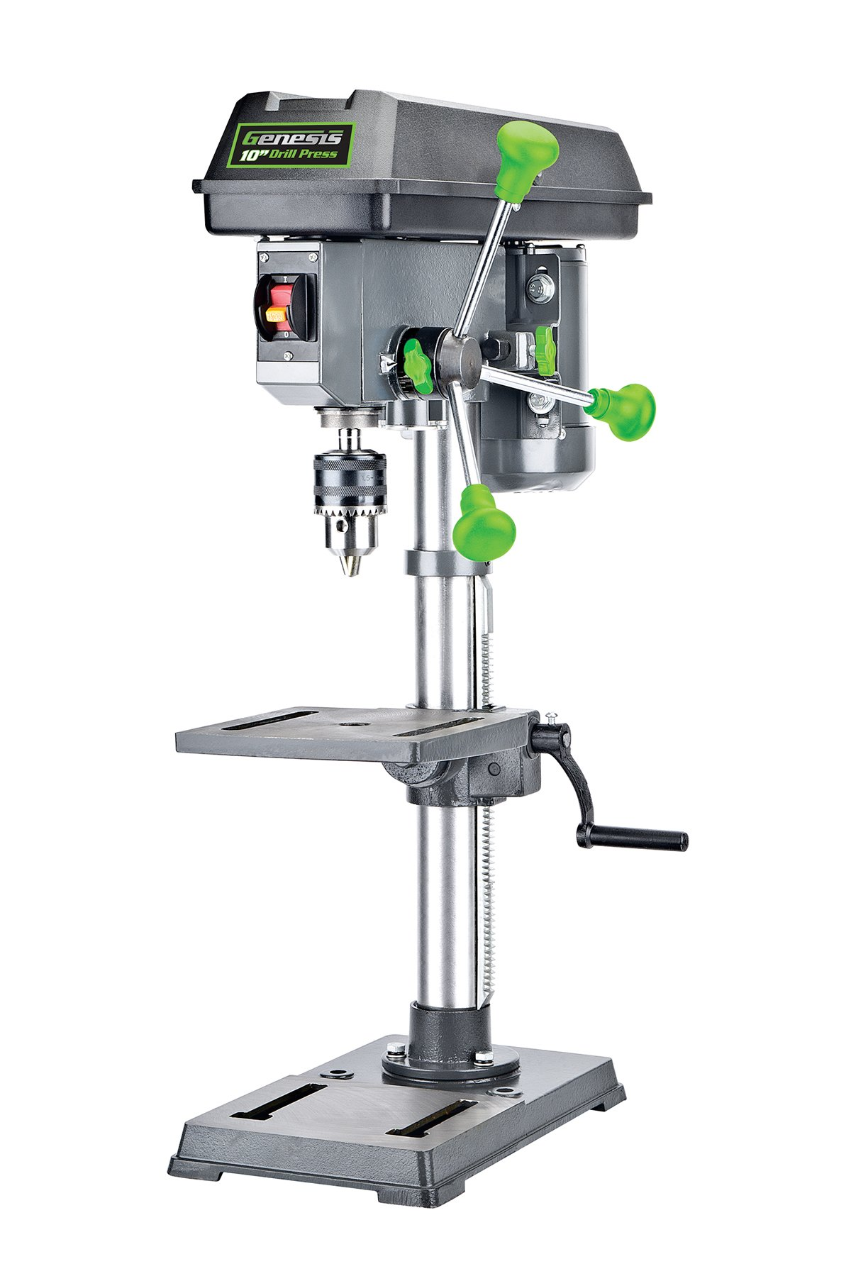Genesis GDP1005A 10'' 5-Speed 4.1 Amp Drill Press with 5/8'' Chuck, with Integrated work light and Table that Rotates and Tilts