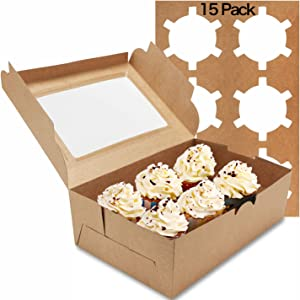Farielyn-X 15 Packs Kraft Cupcake Boxes, Food Grade Kraft Bakery Boxes with Inserts and Display Windows Fits 6 Cupcakes or Muffins