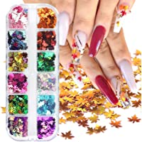 Macute Fall Nail Art Glitters Maple Leaf Nail Sequins, 12 Grids Autumn Leaf Shape Flakes Holographic Gold Red Maple…