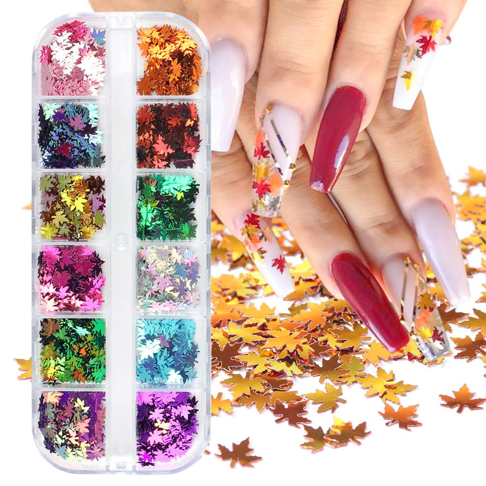 Macute Fall Nail Art Glitters Maple Leaf Nail Sequins, 12 Grids Autumn Leaf Shape Flakes Holographic Gold Red Maple Leaves Paillettes Designs for Nails Gel Polish Supplies Manicure Tips Decorations : Beauty