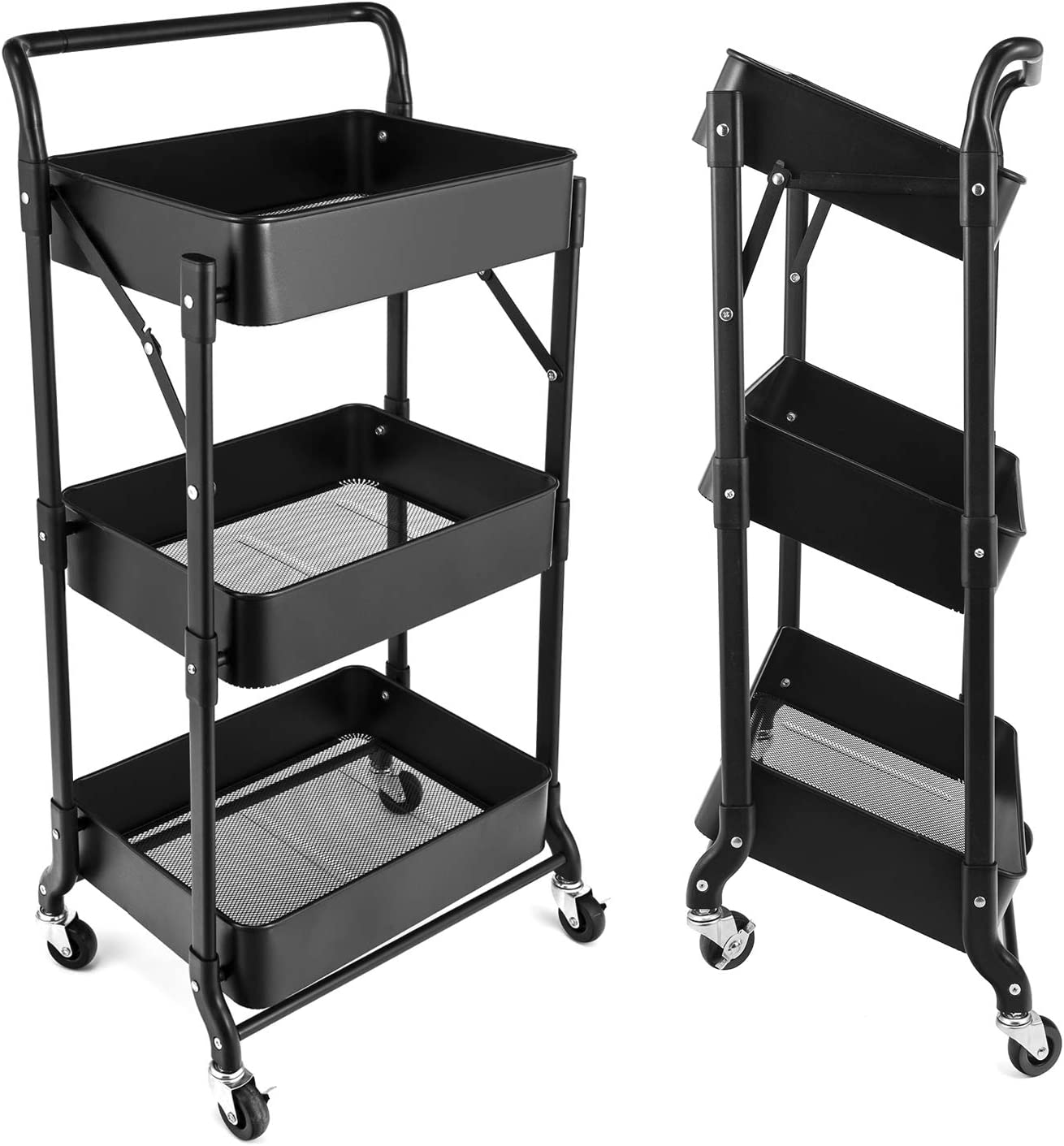 3-Tier Folding Rolling Cart Organizer, Utility Cart with Handle and Metal Storage Basket, Folding Storage Cart with Wheels for Kitchen/Bedroom/Living Room/Bathroom/Office, Black