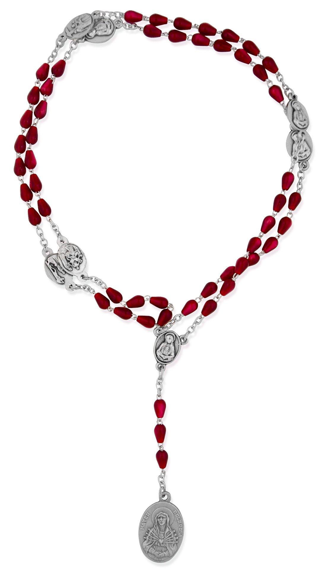 Venerare Traditional Catholic Seven Sorrows Rosary (Red Teardrop)