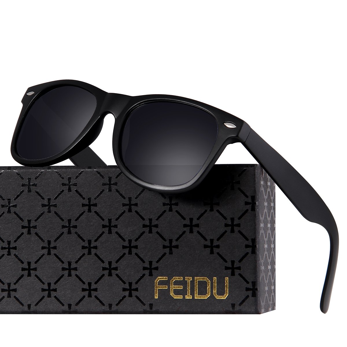 Polarized Wayfarer Sunglasses for Men - FEIDU HD Vision Polarized Sunglasses Mens FD2149 (A-black/matte, 2.08) by FEIDU