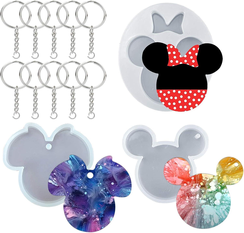Molde de silicona para resina, llavero Disney Mickey (x3)