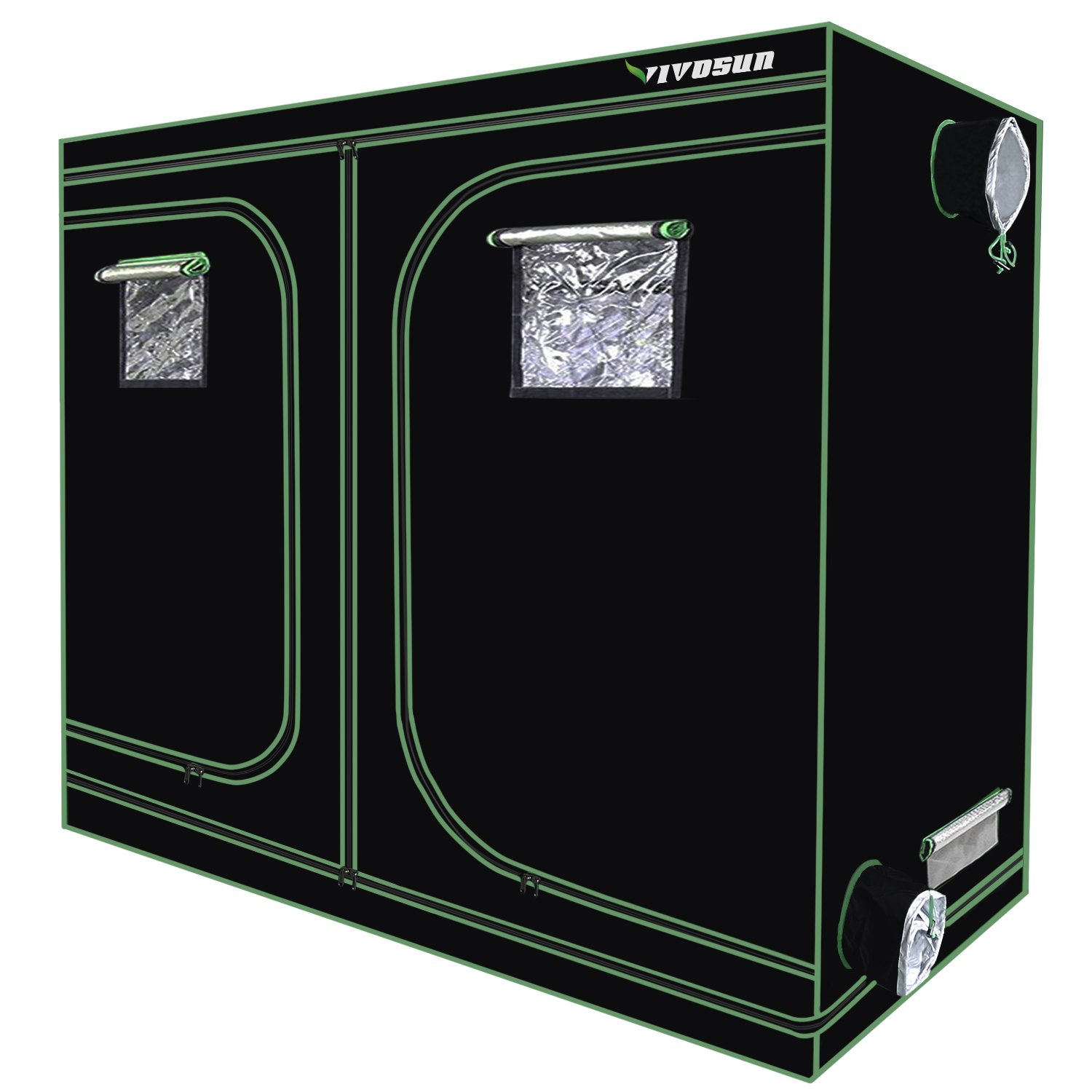 VIVOSUN 96''x48''x80'' Mylar Hydroponic Grow Tent with Observation Window and Floor Tray for Indoor Plant Growing 4'x8'