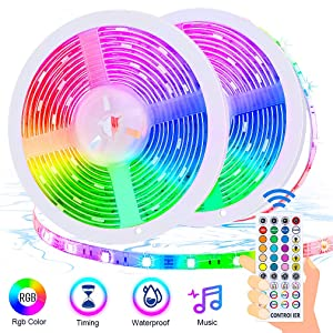 LED Strip Lights 32.8ft, ESEYE 5050 Flexible RGB Sound Activated Neon Room Lights Color Changing Self Adhesive LED Music Sync Tape Lights kit with Remote for Bedroom Kitchen TV Gaming Mood Lighting