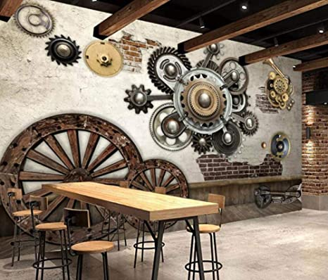 Sunnybz Mural 3d Vintage European Mechanical Gear Wallpaper