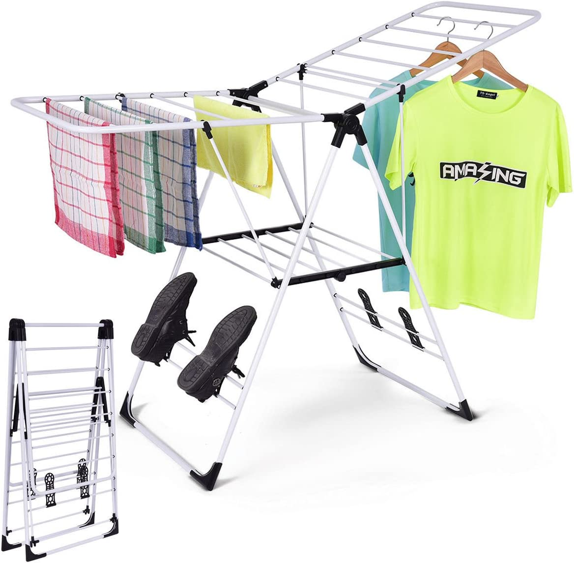 Amazon Com Laundry Clothes Storage Drying Rack Portable Folding Dryer Hanger Heavy Duty Sports Outdoors