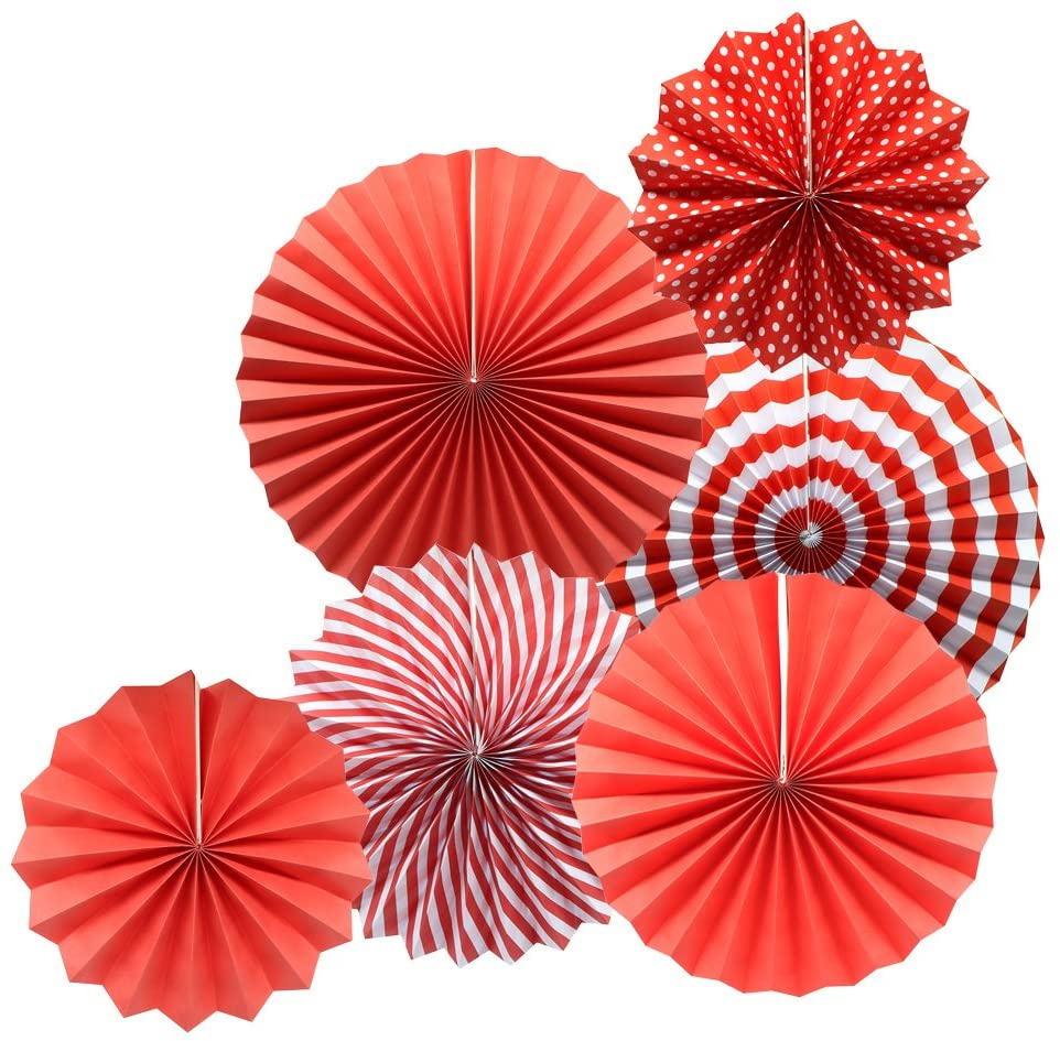 ADLKGG Party Hanging Paper Fans Set, Red Round Pattern Paper Garlands Decoration for Birthday Wedding Graduation Events Accessories, Set of 6