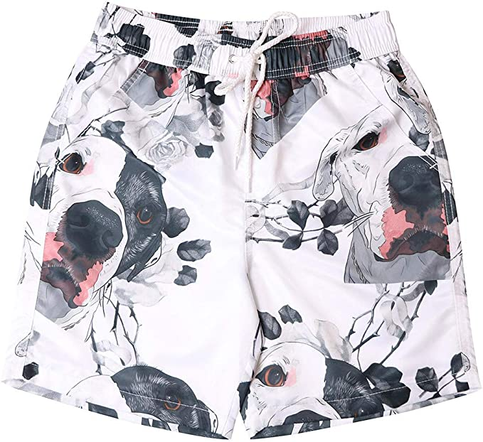 MODOQO Quick Dry Swim Trunks for Men Cute Dog Print Casual Loose Fit Swimming Surfing Shorts