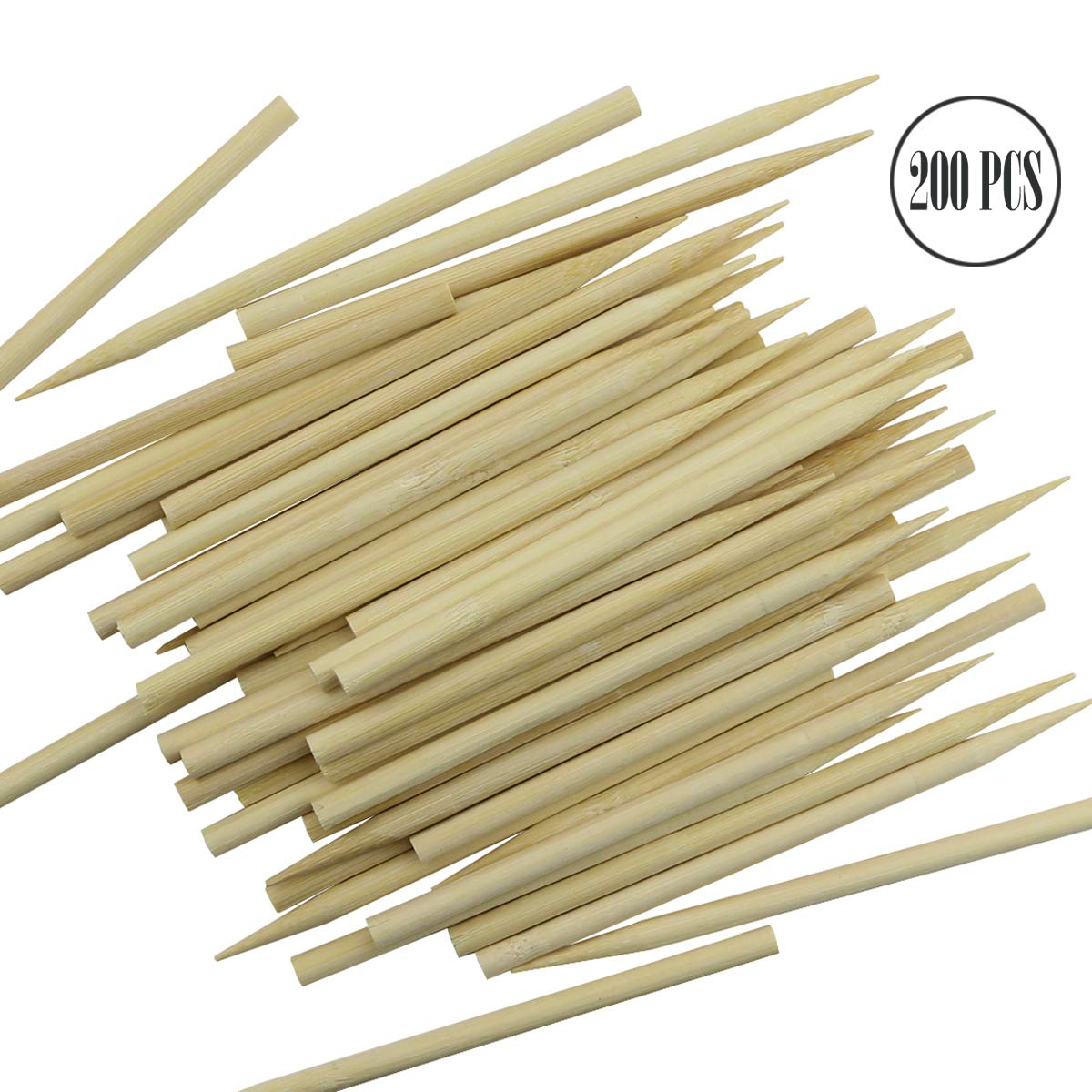 "BcPowr 200PCS Roasting Sticks Wooden Candy Apple Skewer Sticks Candy Stick Candy Stick Skewer Semi Pointed Lollipop Sticks Environmentally Safe (5.12"" x 0.24"")"