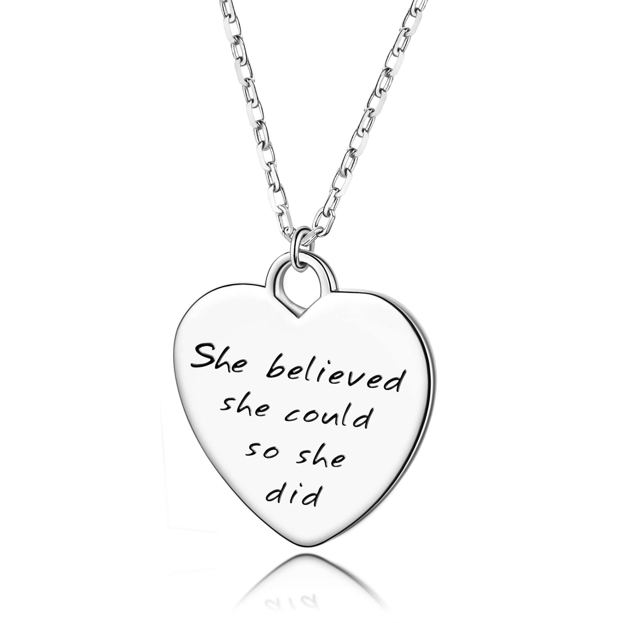 AmorAime Womens 925 Sterling Silver Engraved Heart Necklace She Believed She Could So She Did Inspirationl Believe Pendant Graduation Gift