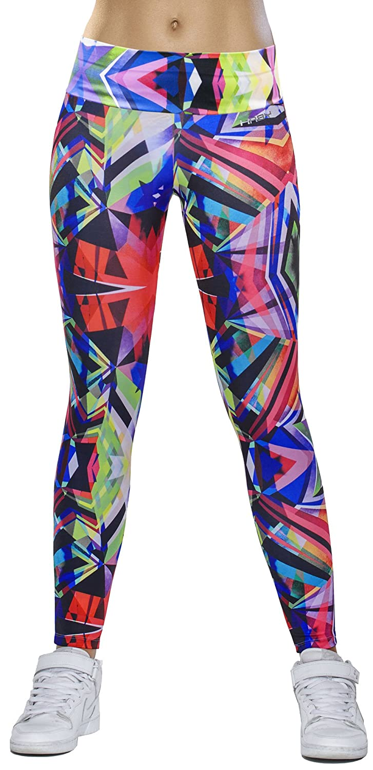Haby Women's Leggings Fitted Pants Gym Workout Running Tights Wide Waistband