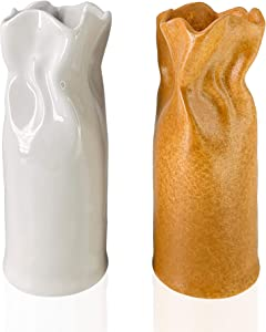 Vera KLINT Ceramic Flower Vase Set for Rustic Farmhouse Decoration, Boho Style Accents, Modern Living Room Décor, Handcrafted Housewarming Gift, Set of 2 Vases, White and Camel Gold