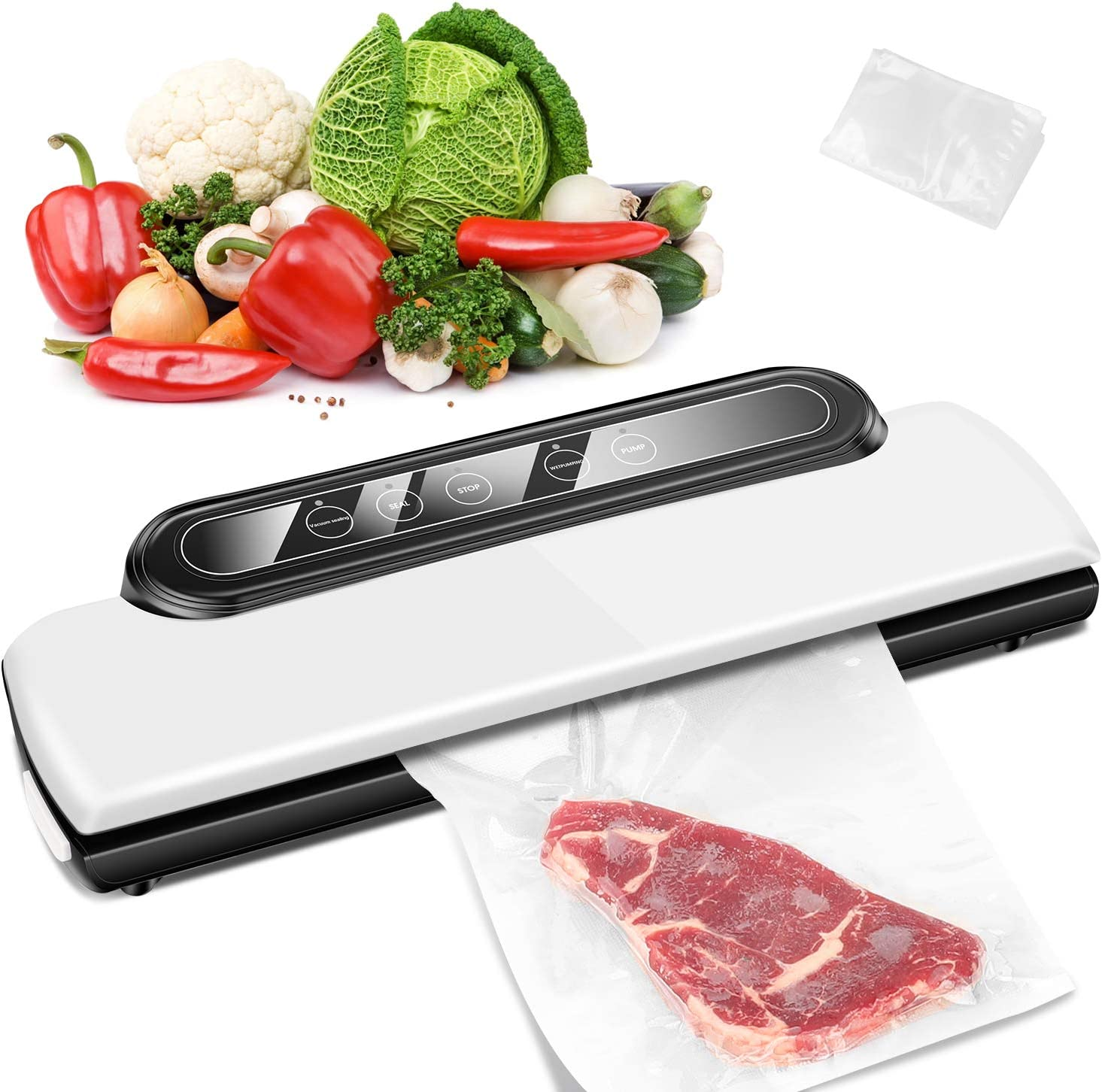 Vacuum Sealer Machine,Anyoug Automatic Food Sealer for Food Savers,Compact Vacuum Packing Machine For Food Preservation with 10 PCS Vacuum Bags, Dry & Moist Food Modes, Led Indicator Lights White